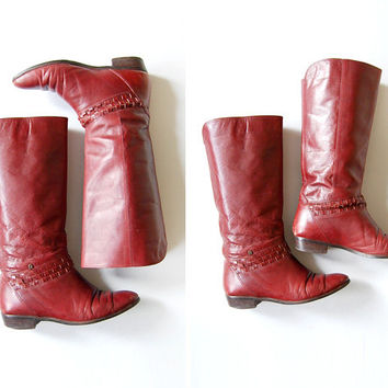 Vintage 1980s 80s Etienne Aigner Oxblood Leather Woven Riding Boots Size 7