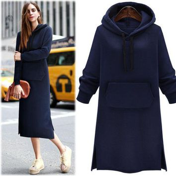 Winter Plus Size Women's Fashion Thicken Hoodies Dress One Piece Dress [9439563396]