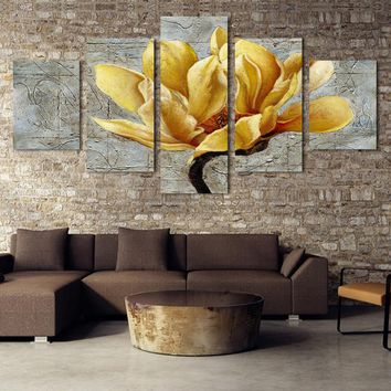 Beautiful Gold Orchid Flower Print Wall Art Canvas Decor For Living Room Picture