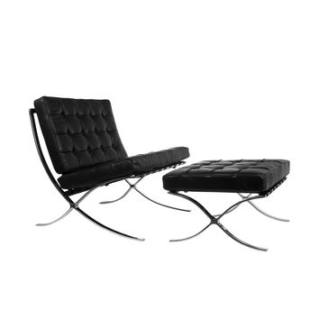 Catalan Chair and Ottoman in Black