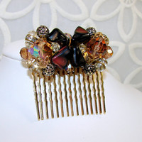 Amber Cluster Crystal Beaded Earring Hair Comb Chocolate Brown Mixed Metals in Gold Silver Tones Rhinestones 1950s Vintage Jewelry Accessory