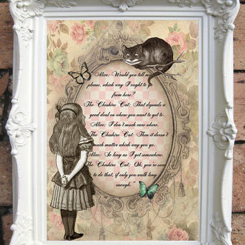 ALICE In Wonderland Quote Art Print On Handmade Paper Shabby Ch