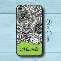 Personalized iPhone 4/ 4s and 5 Case - Thai Pattern With Name Green - iPhone Hard Case - Girly Floral Pretty Fashion Cell Phone Cover