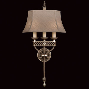 Fine Art Lamps 808450ST Villa Vista Two-Light ADA Wall Sconce in Hand Painted Driftwood Finish On Metal with Silver Leafed Accents