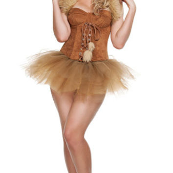 Brown Tutu Dress Faux Fur Collar Jungle Costume