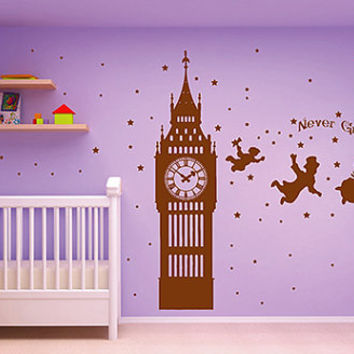 kik2797 Wall Decal Sticker Peter Pan fairy tale of Big Ben room children's bedroom