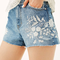 Denim shorts with white embroidered flowers - Denim Collection - Bershka United States