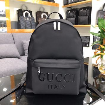 518a60f73 GUCCI MEN'S NYLON CANVAS AND LEATHER BACKPACK BAG