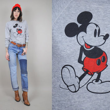 Original vtg DISNEY 70's / 80's Tri-Blend MICKEY MOUSE athletic gray crew neck Sweatshirt • Small