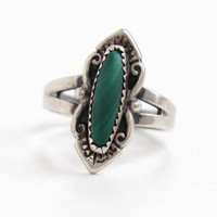 Vintage Sterling Silver Green Malachite Stone Ring - Size 6 1/4 Retro Southwestern Native American Style Jewelry Hallmarked Bell Trading Co.