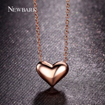 Gold NEWBARK Simple Heart Shaped Design 18K Rose Gold Plated Polished Charm Pendant Necklace For Women Jewelry