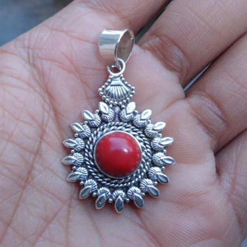 Dyed Red Coral Pendant, Red Coral Necklace, Designer Pendant, Sterling Silver Coral Pendant, Coral Stone Pendant, Red Coral Silver Pendant