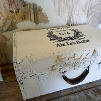 Hand painted white antique suitcase with black lettered detail shabby cottage chic storage decor