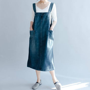 summer Blue denim vest skirt Leisure strap skirt