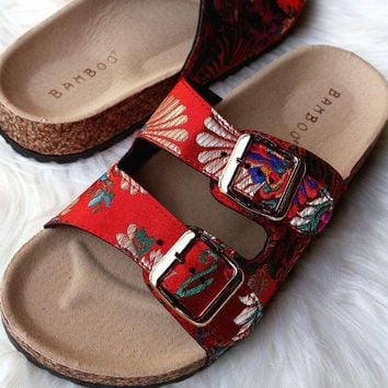 DCK7YE Bamboo Satin Floral Brocade Buckled Cork Slide Sandal
