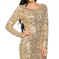 Long Sleeve Scooped Back Sequin Mini Dress in Gold