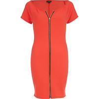River Island Womens Red zip front bodycon dress