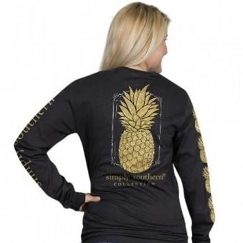Simply Southern Gold Glitter Pineapple Tee