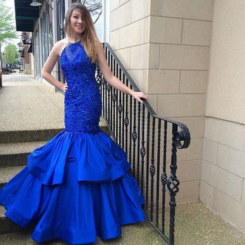 Sexy Halter Long Mermaid Prom Dress With Beading 2016 New Style Blue Prom Dress Vestidos De Baile Longo