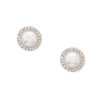 Faux Pearl & Rhinestone Halo Stud Earrings