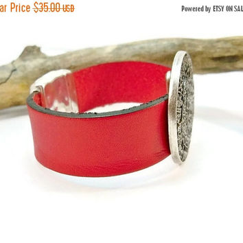 Christmas Sale Red Leather Statement Bracelet, Wide Red Leather and Silver, Leather Cuff Bracelet, Magnetic Clasp Closure, Gift for Her