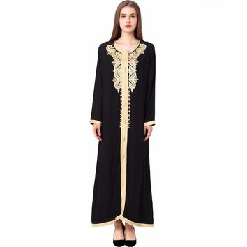 Women Maxi Long sleeve long vintage Dress embroidery moroccan Kaftan Caftan Islamic abaya Muslim Turkish arabic Robes gown 1629