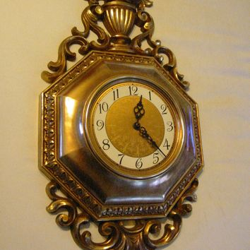 Rococo Style Syroco Clock Wall Decoration Golden Composition