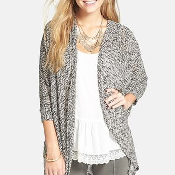 Junior Women's Painted Threads Oversized Sheer Knit Cardigan,