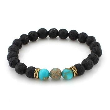 Multi-Color Lava Stone Bead Bracelet