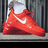 NIKE AIR FORCE 1 07 LOW Fashion New Couple Fashion Casual Wild Running Sports Shoes Red