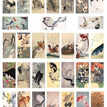 Vintage Asian Japanese animal birds fish water color clip art digital download collage sheet 1x2 inch graphics printable domino pendants