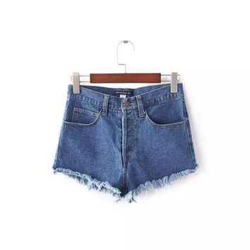 Summer Simple Slim High Waist Denim Shorts [8173452103]