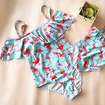 One Piece Mother Daughter Swimsuit Floral Printed Mom and Daughter Bathing Suit Family Matching Clothes Family Look Clothes