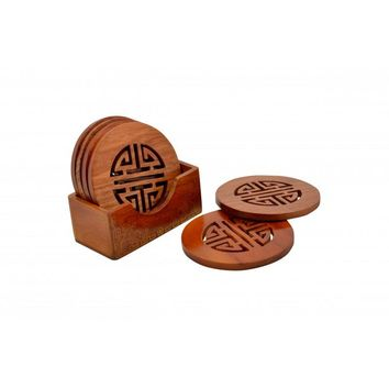 "Chinese Character ""Longevity"" Wooden Coasters, Set of 4 - Brown from JL Rocken"
