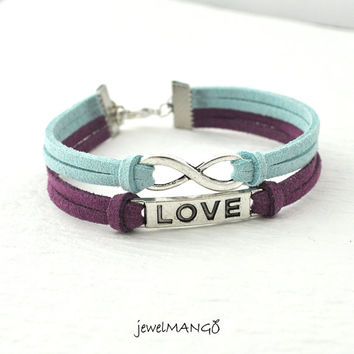 Infinite love bracelet, silver charm bracelet, suede bracelet, baby blue, amethyst, infinity Jewelry, everlasting love, enternity,pick color