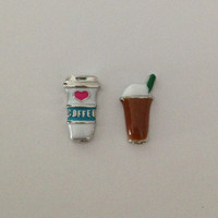Floating charms for living memory lockets - coffee cup, iced coffee