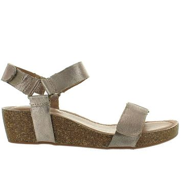 Adam Tucker Shea - Champagne Metallic Leather Platform/Wedge Sandal