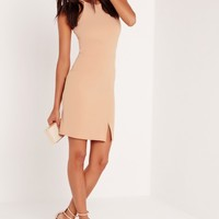 Missguided - Tall 90's Neck Mini Dress Nude