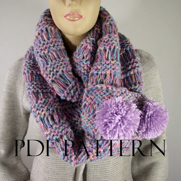 KNITTING PATTERN SCARF - I Love Pompoms Scarf Cowl Pattern - Big Scarf Cowl with Pom Poms Buttons