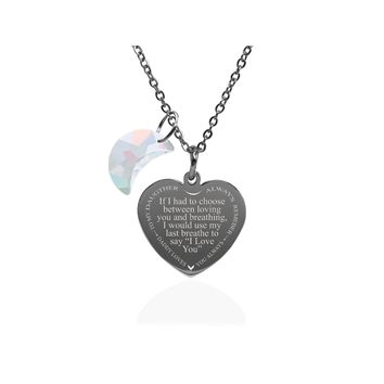 Inspirational Heart Necklace Made With Crystals from Swarovski  - Last Breathe from Dad