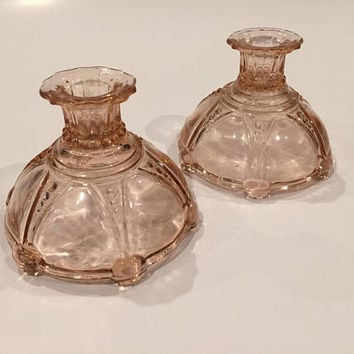 Pair of Oyster and Pearl Pink Depression Glass Candlestick Holders,  Pink Depression Glass