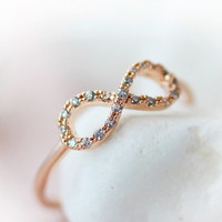Infinity Ring Crystal Best Friend Forever Infinite Love Ring Jewelry Rose Gold Silver gift idea