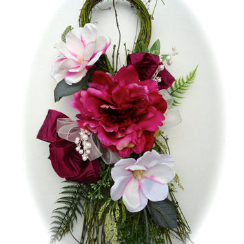 Silk Floral Swag on Natural Vine Base - White Magnolia and Magenta Peony Swag