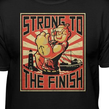 Popeye The Sailor Man Strong To The Finish Men's Black T-Shirt