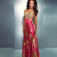 Mac Duggal Prom 2013- Hot Pink And Gold Gown - Unique Vintage - Cocktail, Pinup, Holiday & Prom Dresses.