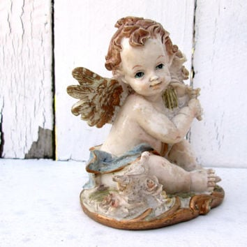 Sweet Angel Figurine Renaissance Cherub Gold Wings Tiny Bird  Shabby Cottage Chic French Country Vintage