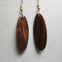 Desert Ironwood Long Narrow Dangle Earrings, Exotic Wood silver gold hypoallergenic handmade ExoticwoodJewelryAnd
