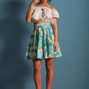 Floral skater skirt, blue flowers skirt, bow skirt