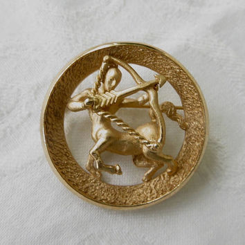 Crown Trifari Sagittarius Brooch, Vintage Centaur Pin, November December Birthstone,Astrology Jewelry, Sagittarius Jewelry