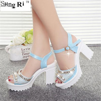 2018 Summer style Women's shoes wedge thick with high heel sandals female platform sequins diamond waterproof platform peep-toe